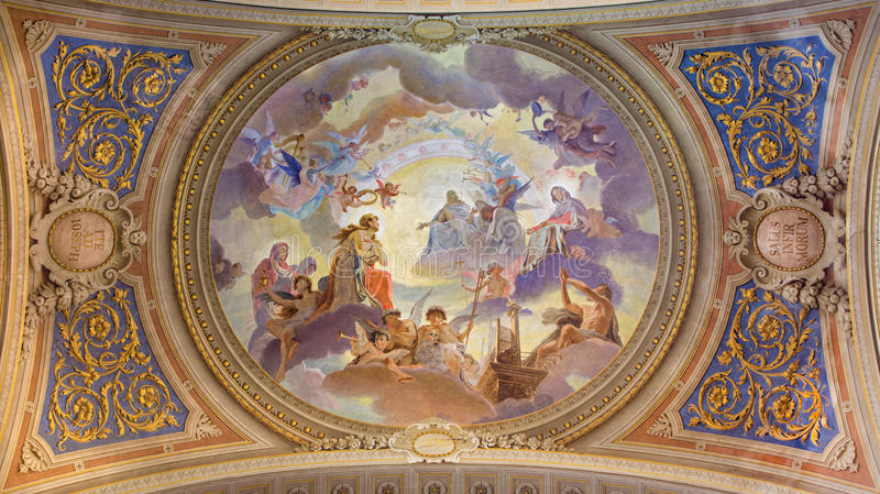 Venice - Ceiling restored fresco in baroque church Saint Mary Magdalene or Santa Maria Maddalena. BOLOGNA, ITALY - MARCH 17, 2014: Ceiling restored fresco in stock photography