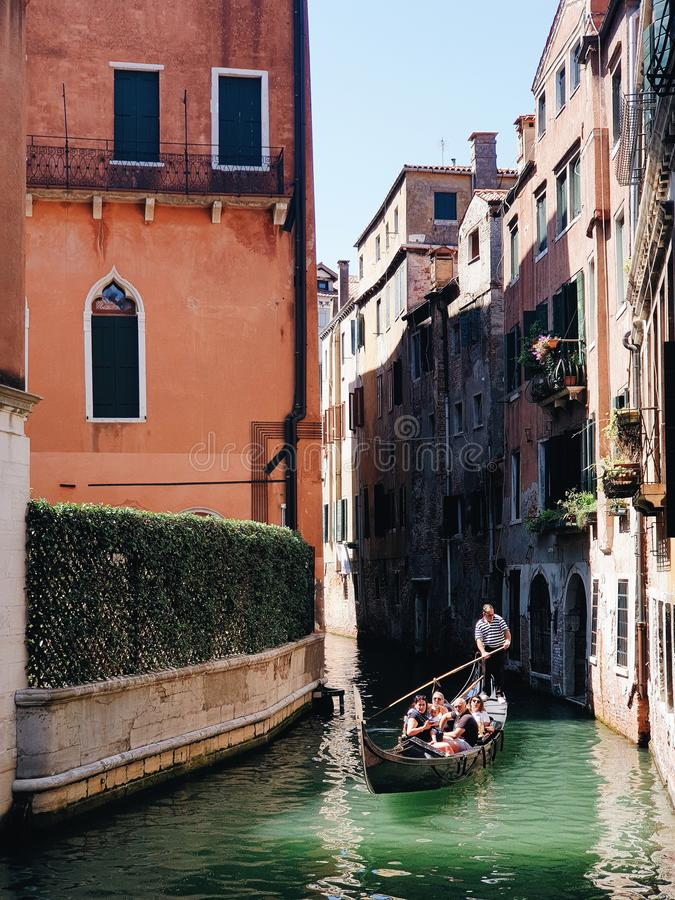 Venice Channel with gondola. And water stock photography