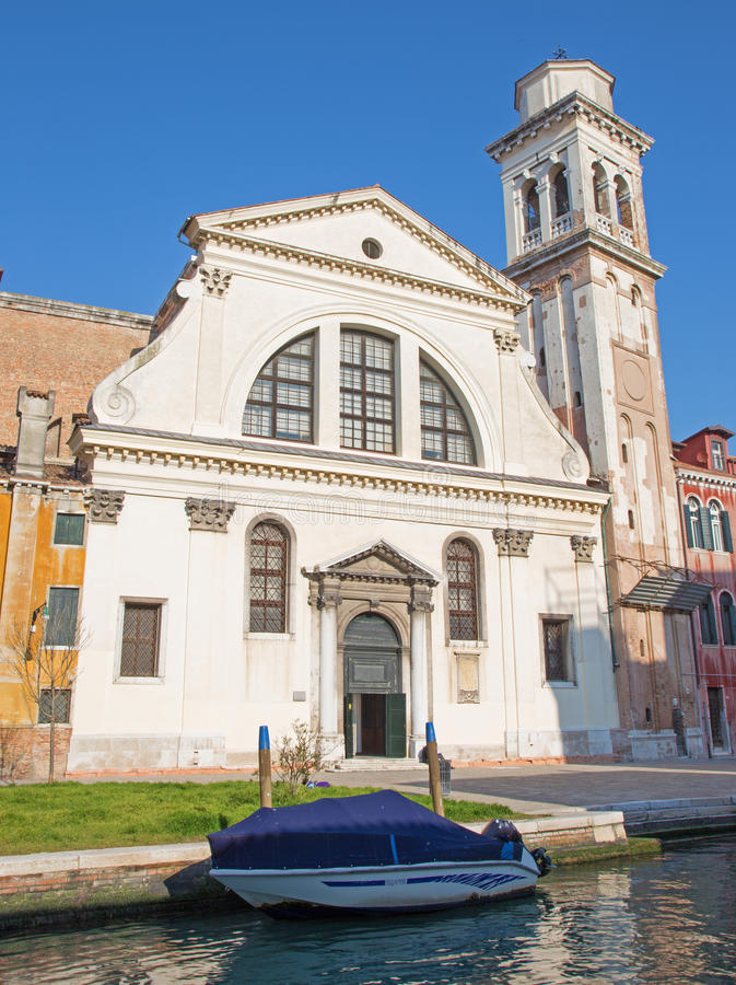 Venice - Chiesa di San Trovaso church. And the boat stock image