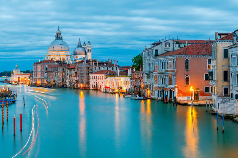 Venice. Church of Santa Maria della Salute. Grand Canal and Basilica Santa Maria della Salute at night, Venice royalty free stock photo