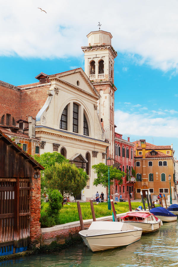 Venice. Church of St. Trovaso. Italy. The cityscape and architecture of Venice. City canal and Church of St. Trovaso stock photo