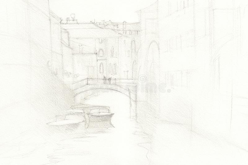 Venice city hand drawn, pencil sketch illustration royalty free illustration