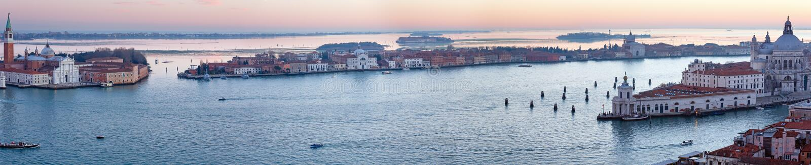 Venice city (Italy) sunset view. Panorama. The Island of San Giorgio Maggiore. Venice city (Italy) sunset view. Panorama. All peoples unrecognizable royalty free stock image