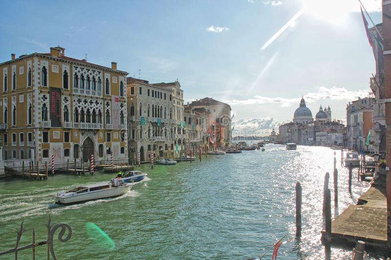 Venice, Italy - September 04,2017: Beautiful and colorful houses along the river in the Venice city stock images
