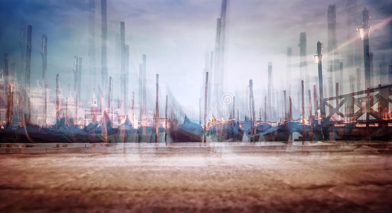 Venice city. Photo with soft focus of moored Venetian gondolas, creative fine art grunge style photo, slow motion of traditional Venice city transport, Italy royalty free stock images
