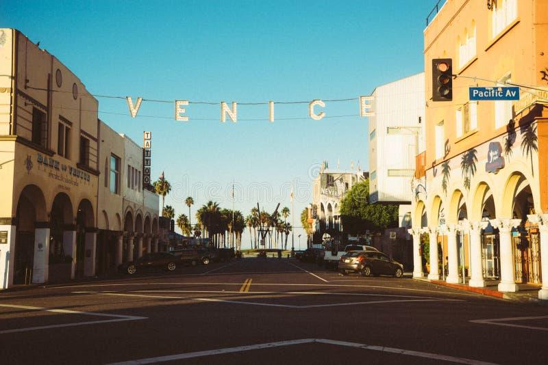 Venice city street scene stock image