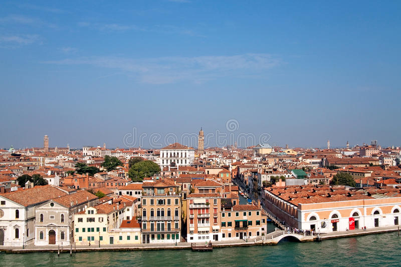 Venice Cityscape. A cityscape view of Venice, Italy from high above the water stock photography