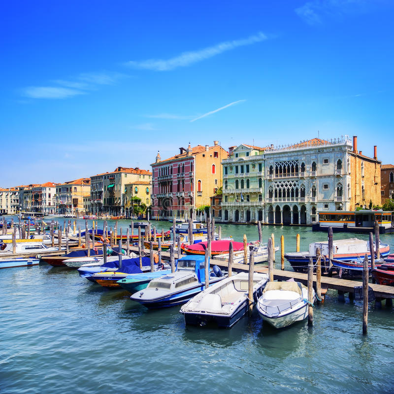 Venice cityscape, boats and traditional buildings. Grand canal. Venice cityscape, boats and traditional buildings in Grand Canal. Italy, Europe royalty free stock images