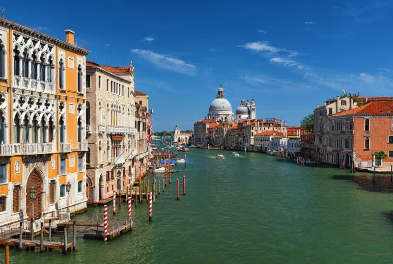 Venice cityscape, Grand Canal with church of Santa Maria della Salute, Italy stock photo