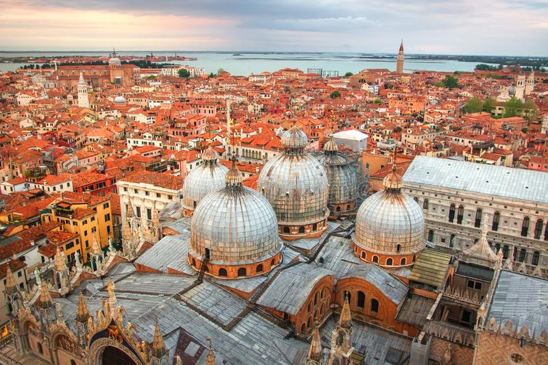 Venice cityscape, Italy. Beautiful view on Venice city from above royalty free stock image