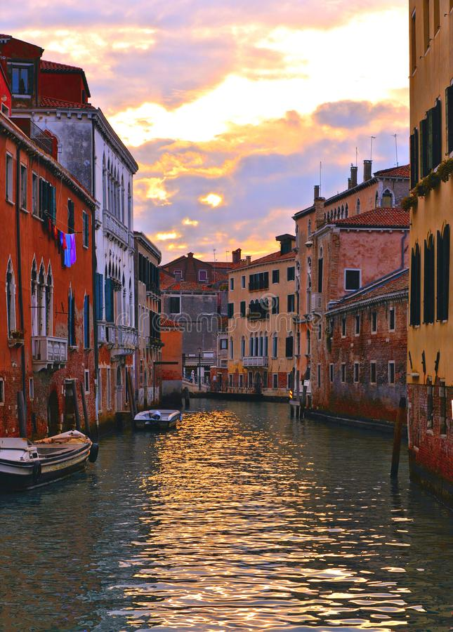 Venice colorful corners on sunset with old buildings and architecture, boats and beautiful water reflections, Italy. 01.12.2018. Venice colorful corners on royalty free stock images