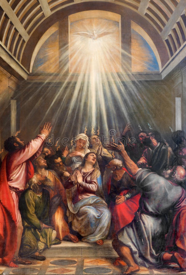 Venice - The Descent of the Holy Ghost by Titian (1488 - 1576) in church Santa Maria della Salute. royalty free stock photo