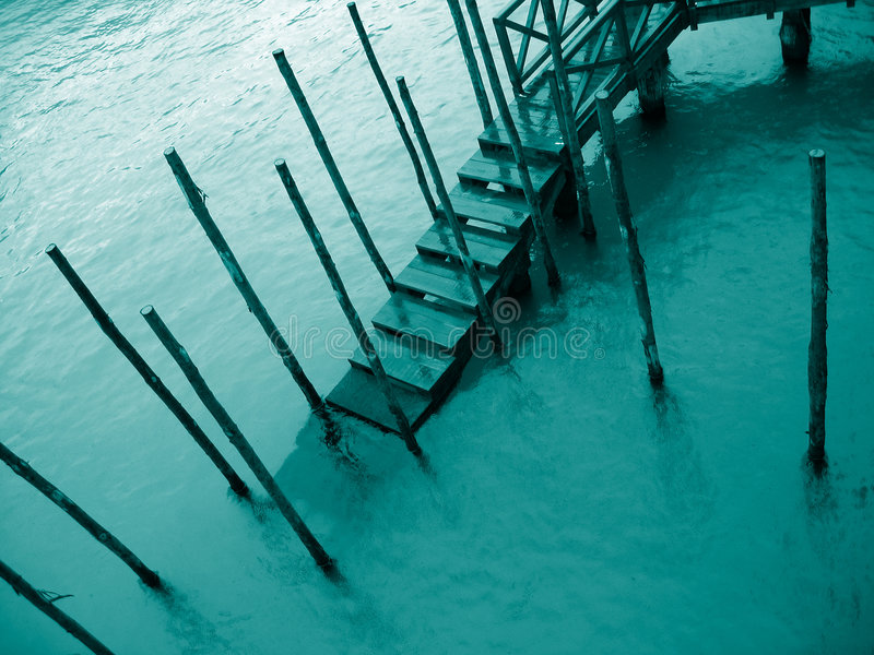 Venice detail 4 – Pier in the rain stock photography
