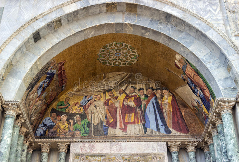 Download Venice, Detail Of A Byzantine Mosaic Placed Over One Of The Entrances Of The St. Mark Basilica Stock Photo - Image: 83700073