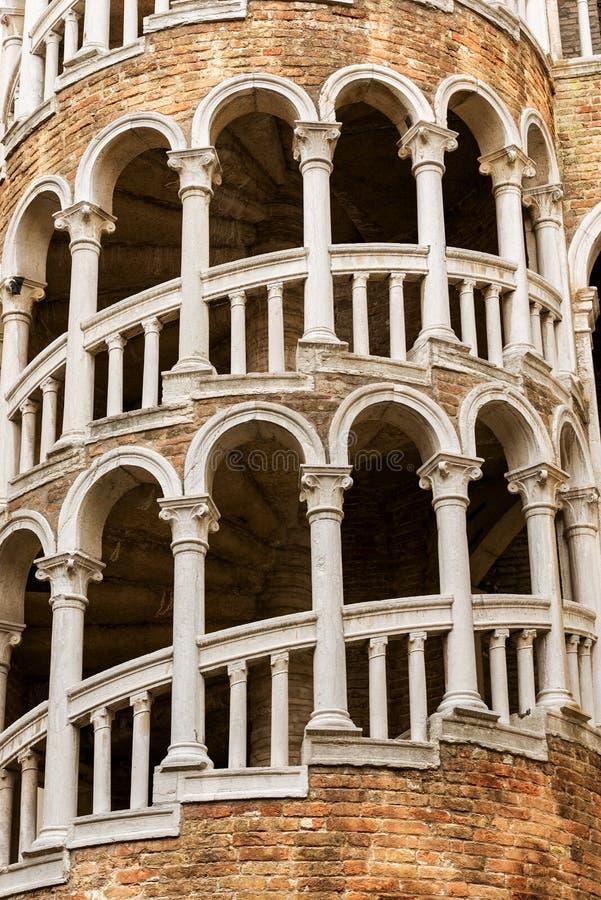 Scala Contarini del Bovolo - Ancient staircase in Venice Italy stock image