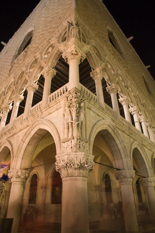 Venice - Doge Palace In The Night Stock Photo
