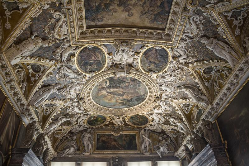 Venice. Doge`s Palace, ceiling in the Atrium stock photos