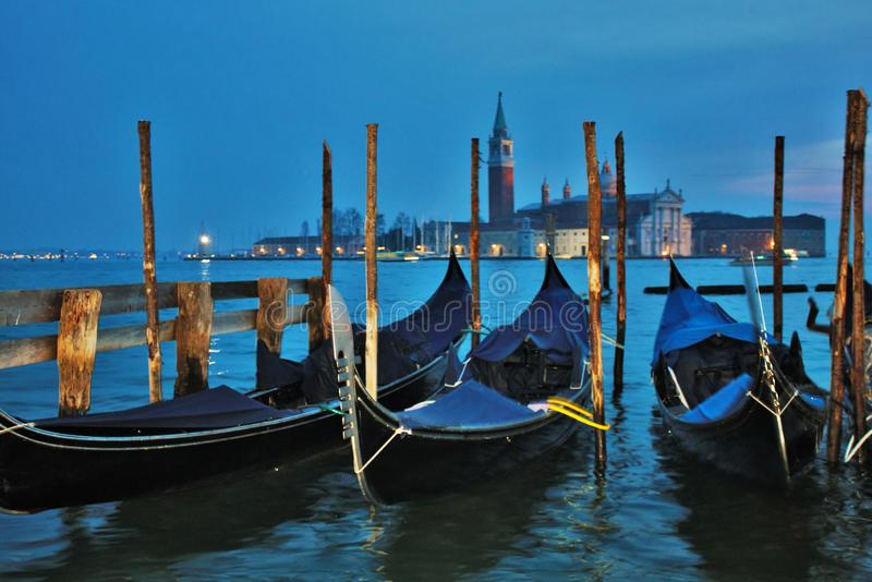 Venice in the evening, the romantic city is enriched with lights that make another image, a walk is a must. Venice in the evening, the romantic city is enriched stock image
