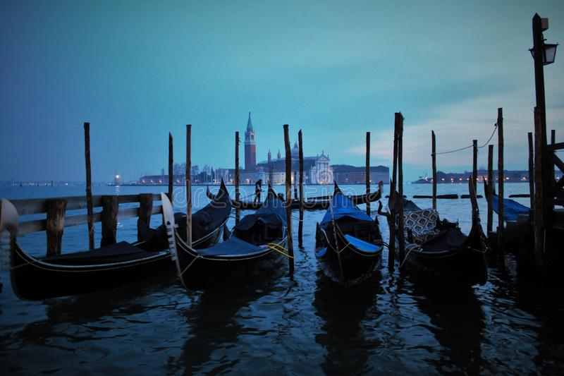 Venice in the evening, the romantic city is enriched with lights that make another image, a walk is a must. Venice in the evening, the romantic city is enriched stock images