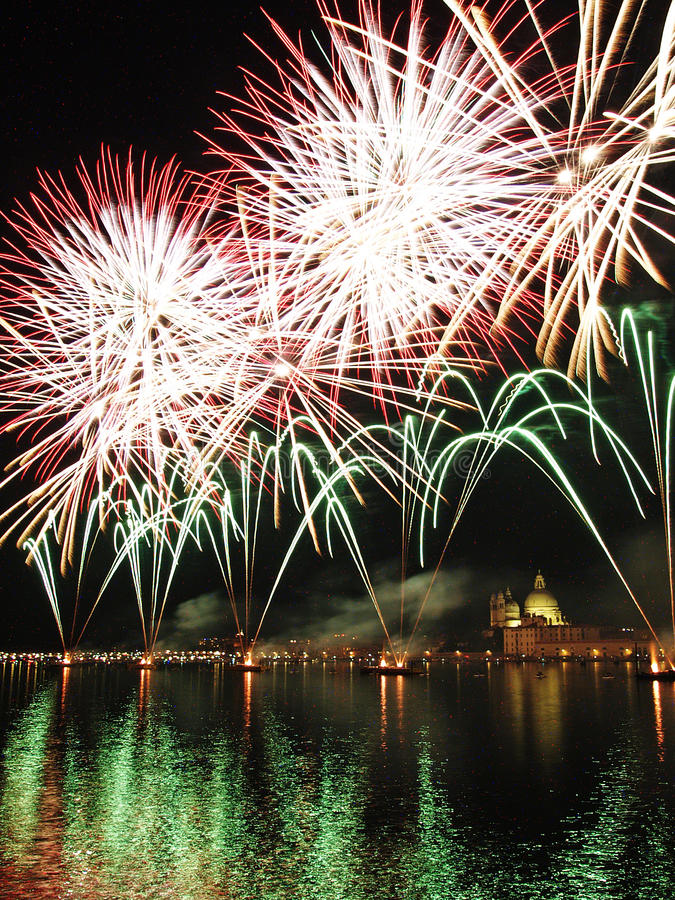 Venice - Fireworks during the Feast of the Redeemer. With the Madonna della Salute Church on the background royalty free stock photos