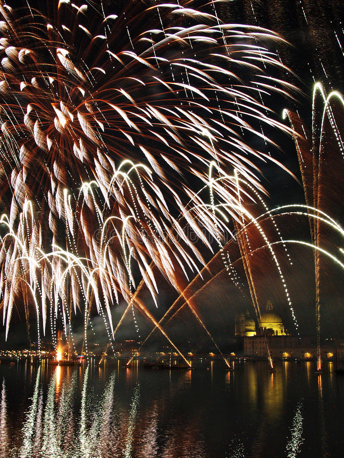 Venice - Fireworks during the Feast of the Redeemer. With the Madonna della Salute Church on the background stock image