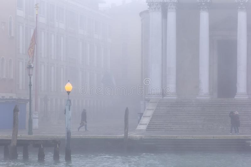 Venice, foggy and misty winter day stock images