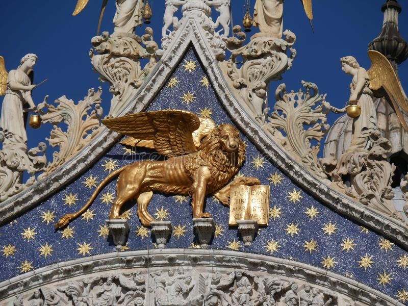 Venice - the gold lion San Marco church cathedral royalty free stock photos