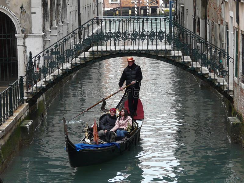 Venice `business card` with gondola and gondolier stock photography