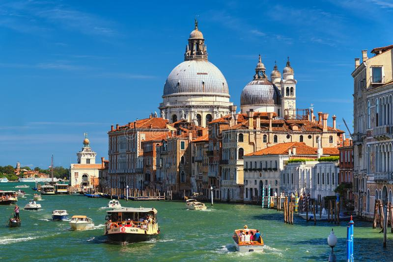 Venice, Grand Canal with church of Santa Maria della Salute, Italy stock image