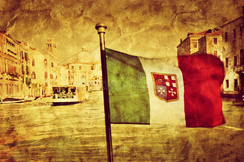Venice Grand Canal And The Flag Of Italy. Vintage Art Stock Photo ...