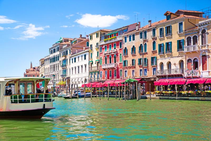 Venice. Grand Canal and old historical colorful medieval buildings. Italy destination. Beautiful landscape royalty free stock images