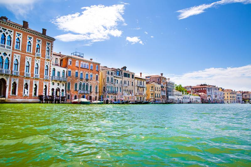 Venice. Grand Canal and old historical colorful medieval buildings. Italy destination. Beautiful landscape stock photo