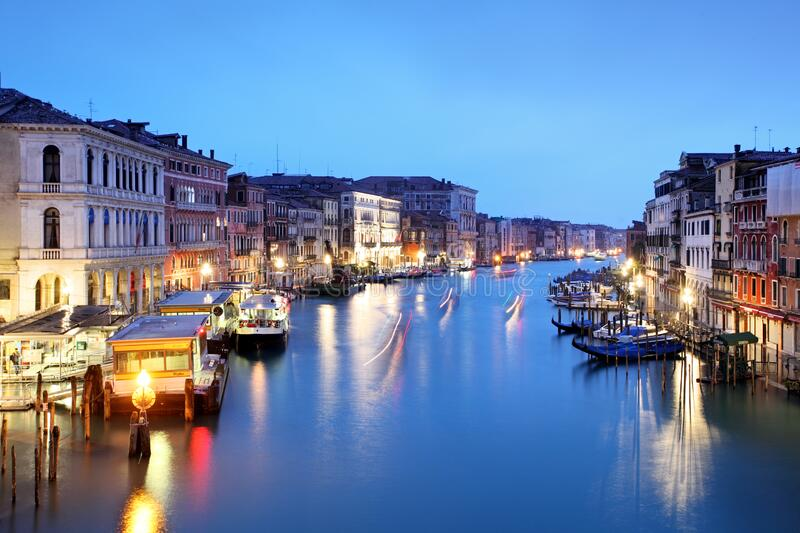Venice - Grand canal from Rialto bridge royalty free stock images