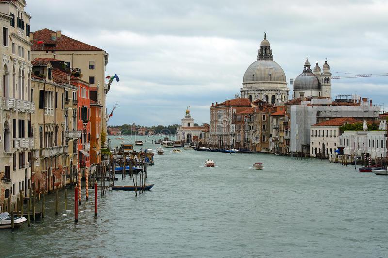 Venice, Grand canal. Venice, view of the Grand canal from the Accademia bridge stock photo