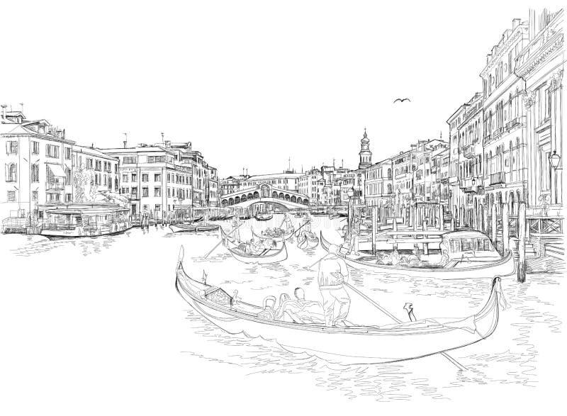 Venice - Grand Canal. View of the Rialto Bridge. Vector drawing vector illustration