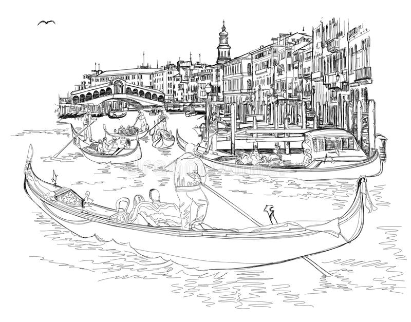 Venice - Grand Canal. View of the Rialto Bridge. The gondoliers floats on a gondola with tourists. Vector black & white sketch royalty free illustration