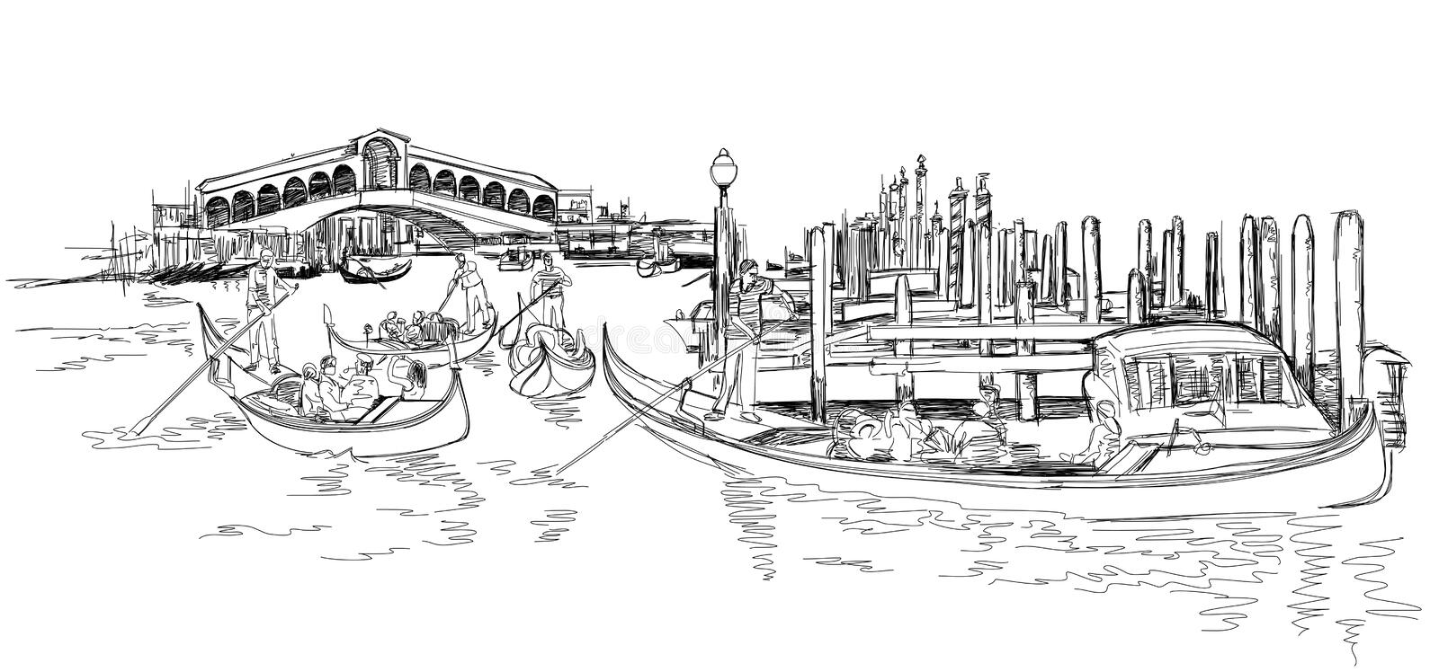 Venice - Grand Canal. View of the Rialto Bridge. The gondoliers floats on a gondola with tourists. Vector black & white sketch stock illustration