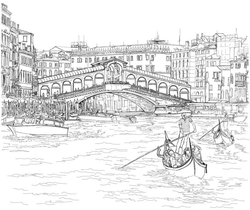 Venice - Grand Canal. View of the Rialto Bridge. Vector drawing stock illustration