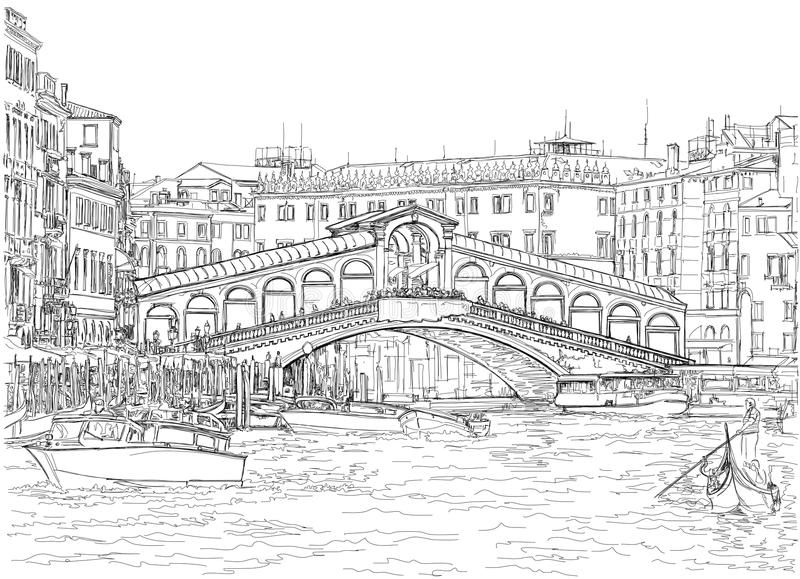 Venice - Grand Canal. View of the Rialto Bridge. Vector drawing royalty free illustration