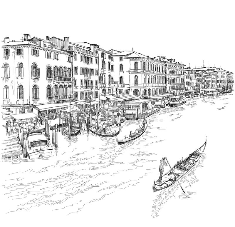 Venice - Grand Canal. The view from the Rialto Bridge. Vector drawing stock illustration