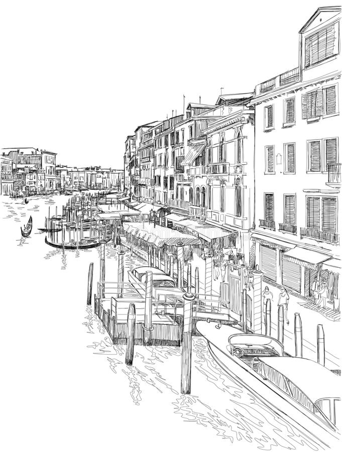 Venice - Grand Canal. The view from the Rialto Bridge. Vector drawing vector illustration