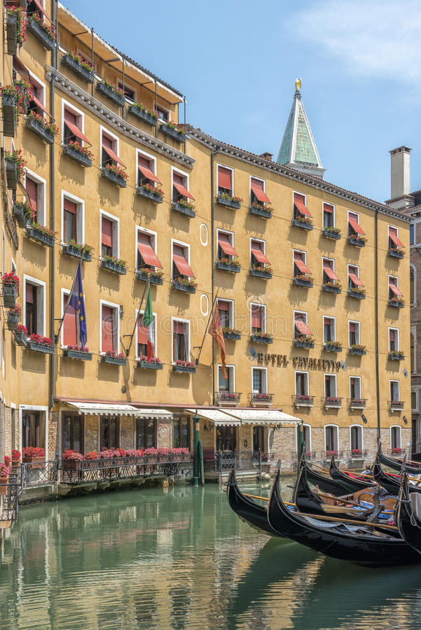 Download Venice Hotel And Gondola Italy Editorial Image