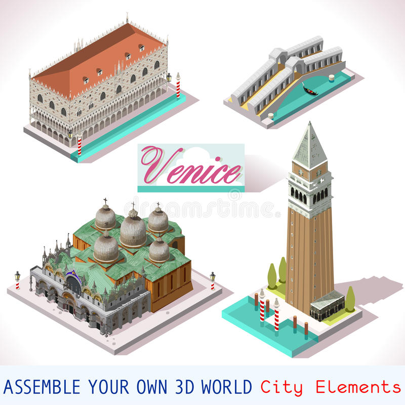 Venice Isometric Buildings Vector Game Icon Set stock illustration