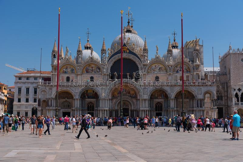 VENICE, ITALY – MAY 23, 2017: Piazza San Marco with the Basilica of Saint Mark, the bell tower of St Mark`s Campanile stock images