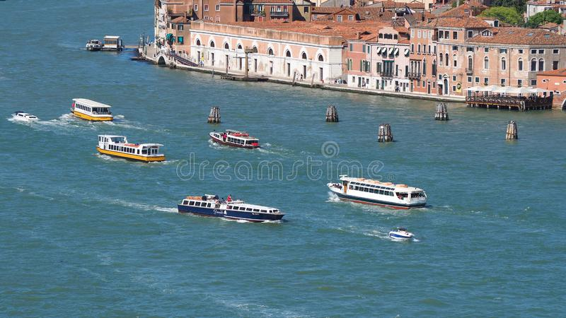 Venice, Italy. Amazing drone aerial landscape of the San Marco water basin with many boats royalty free stock photo