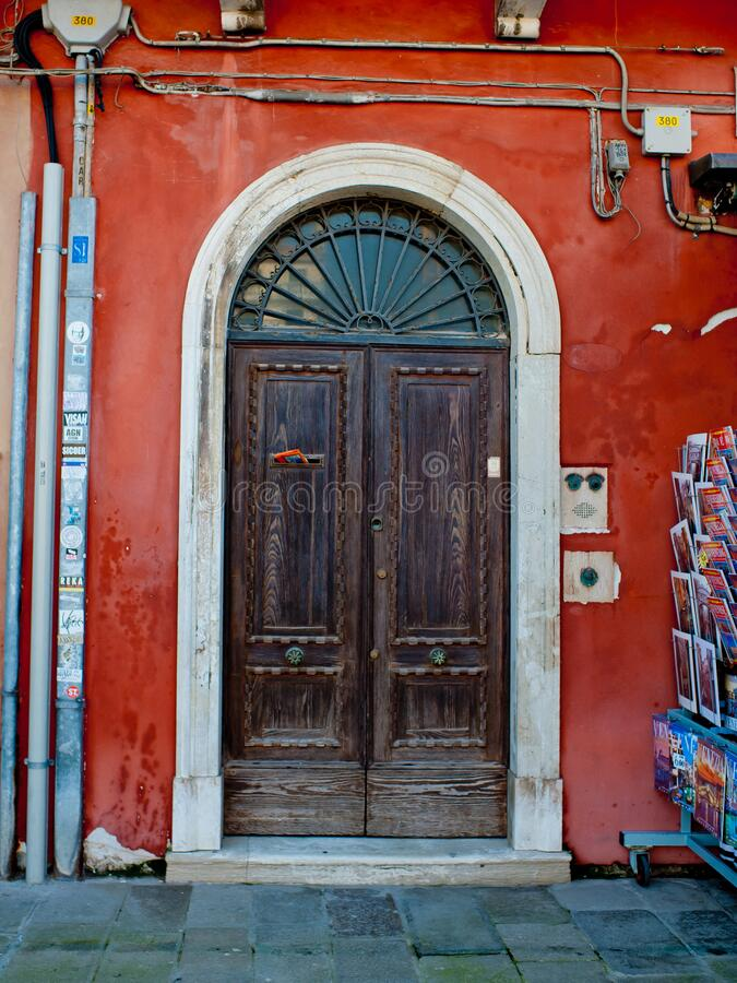 Free Venice, Italy - April 06, 2018: The Old Door On The City. Stock Images - 177238924