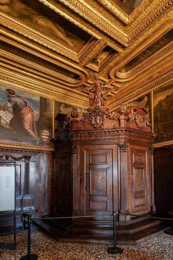 Venice, Italy - April 18 2019 The compass room at the Doge Palace royalty free stock images