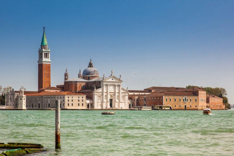 Grand Canal and the beautiful Basilica Di San Giorgio Maggiore. The Grand Canal and the beautiful Basilica Di San Giorgio Maggiore royalty free stock photos