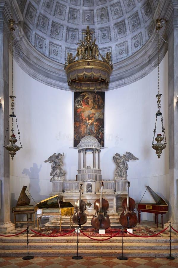 Ancient Italian string instruments exhibition in Venice, Italy royalty free stock photo
