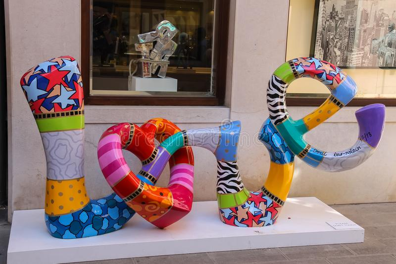 Love word by sculptor Dorit Levinstein in art gallery of Venice, royalty free stock images